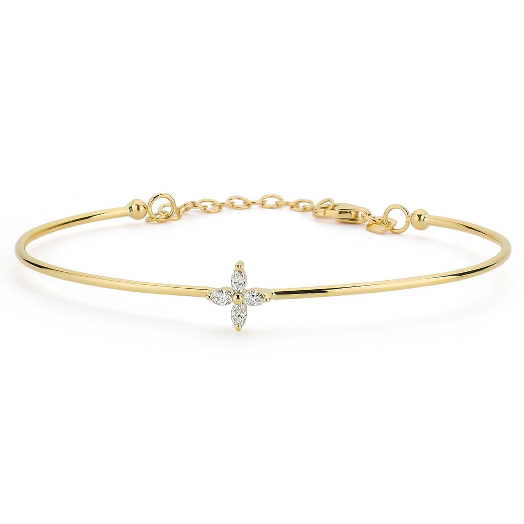14K Solid Gold Marquise Diamond Bangle Bracelet for Women - Jewelryist