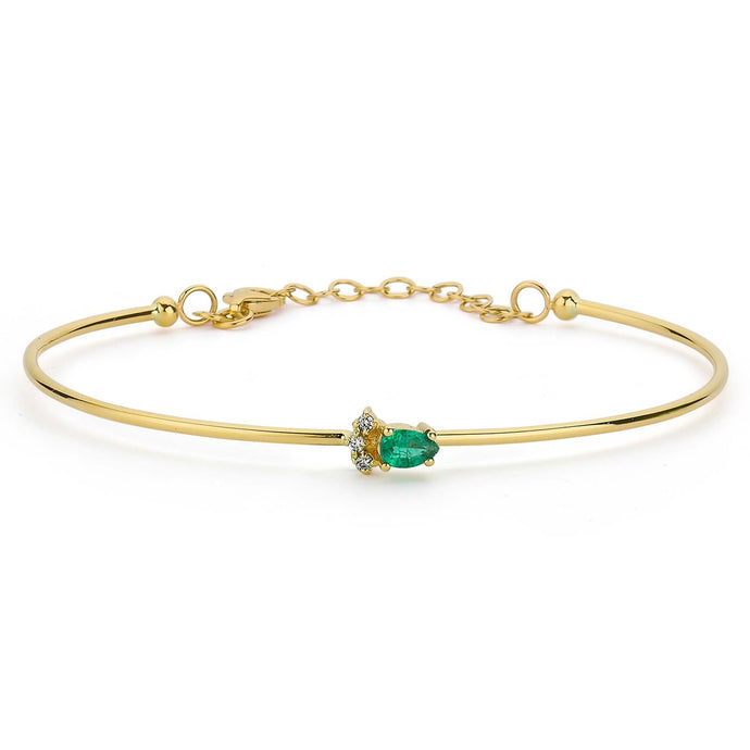 14K Solid Gold Diamond and Emerald Bangle Bracelet for Women - Jewelryist
