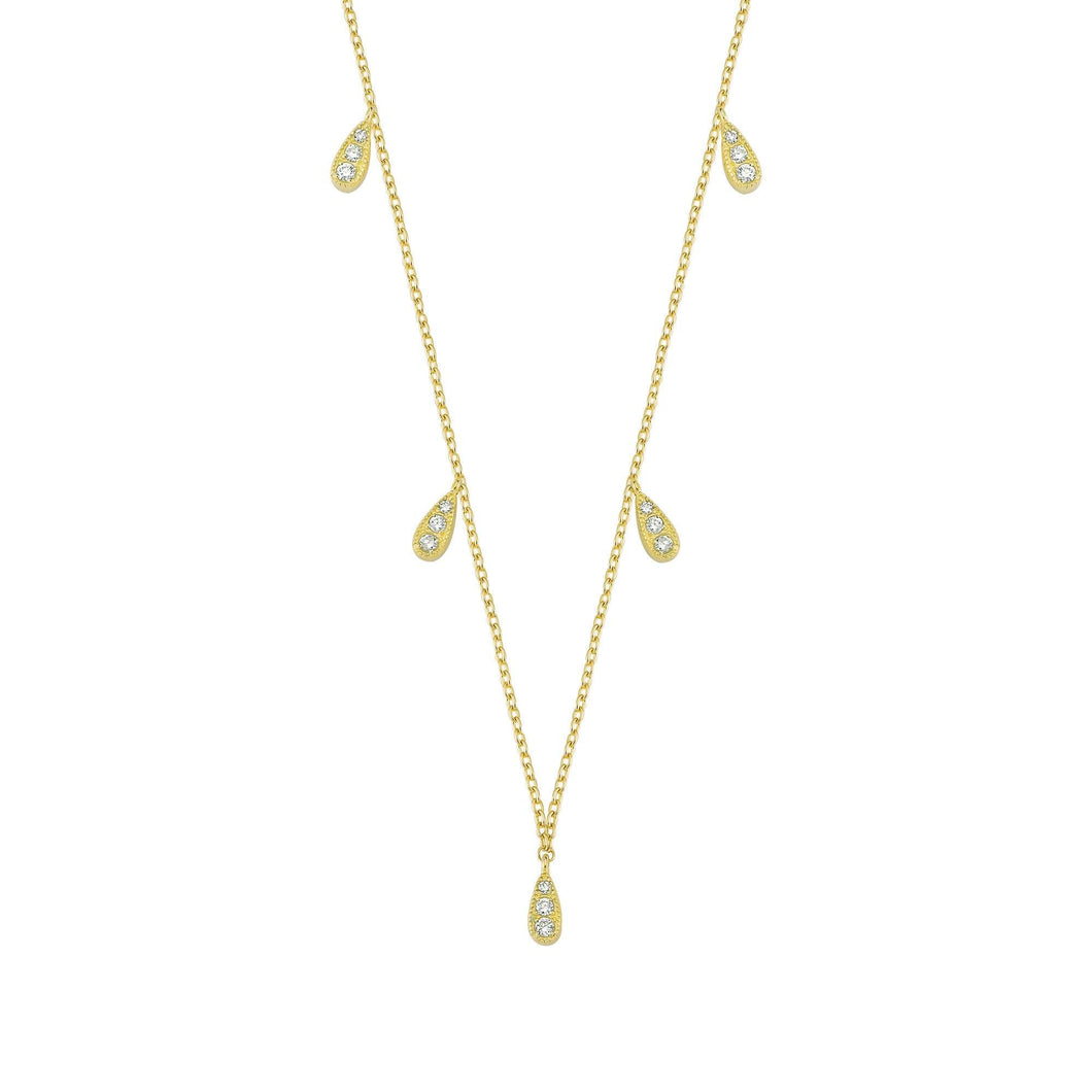 14K Solid Gold Diamond Layering Teardrop Necklace For Women - Jewelryist