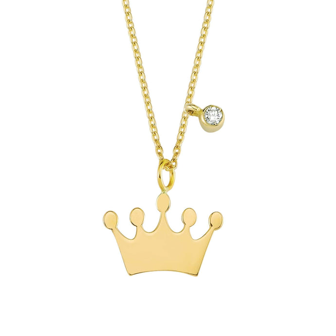 14K Solid Gold Diamond Crown Charm Necklace For Women - Jewelryist