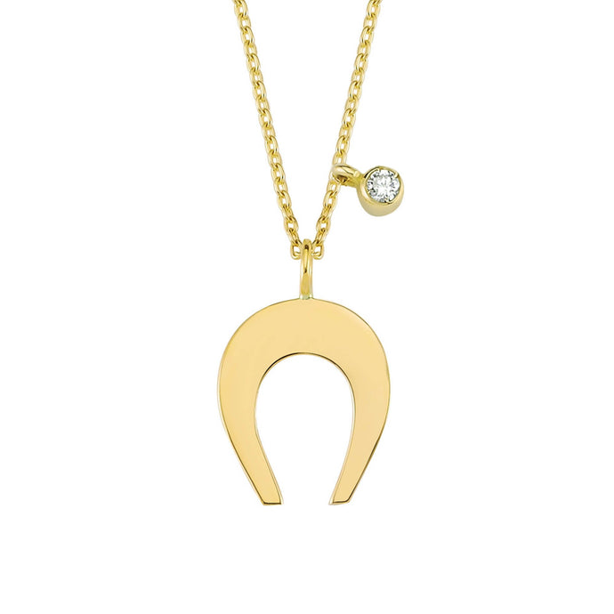 14K Solid Gold Diamond Horseshoe Necklace For Women - Jewelryist