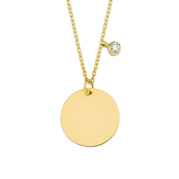 14K Solid Gold Diamond Circle Charm Necklace For Women - Jewelryist