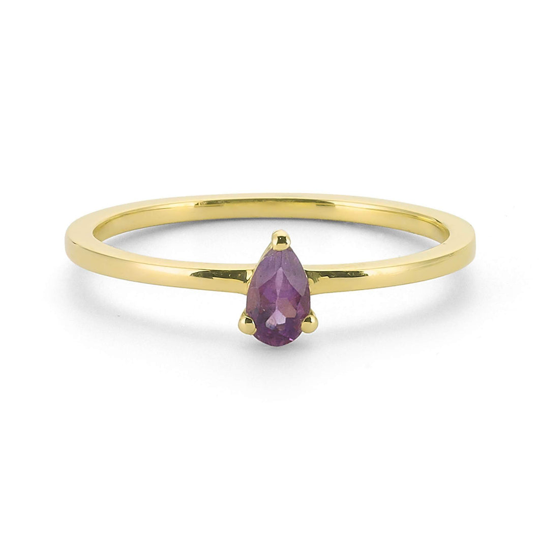 14K Solid Gold Amethyst Ring For Women - Jewelryist