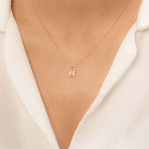14K Solid Gold Diamond Initial M Charm Necklace For Women - Jewelryist