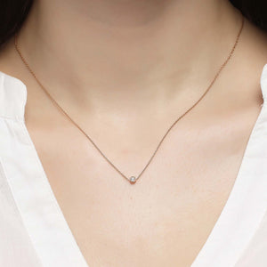 14K Solid Gold Diamond Solitaire Charm Necklace For Women - Jewelryist