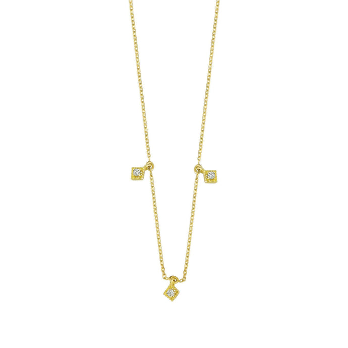 14K Solid Gold Diamond Layering Square Necklace for Women - Jewelryist
