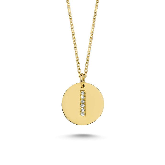 14K Solid Gold Diamond Initial I Charm Necklace For Women - Jewelryist