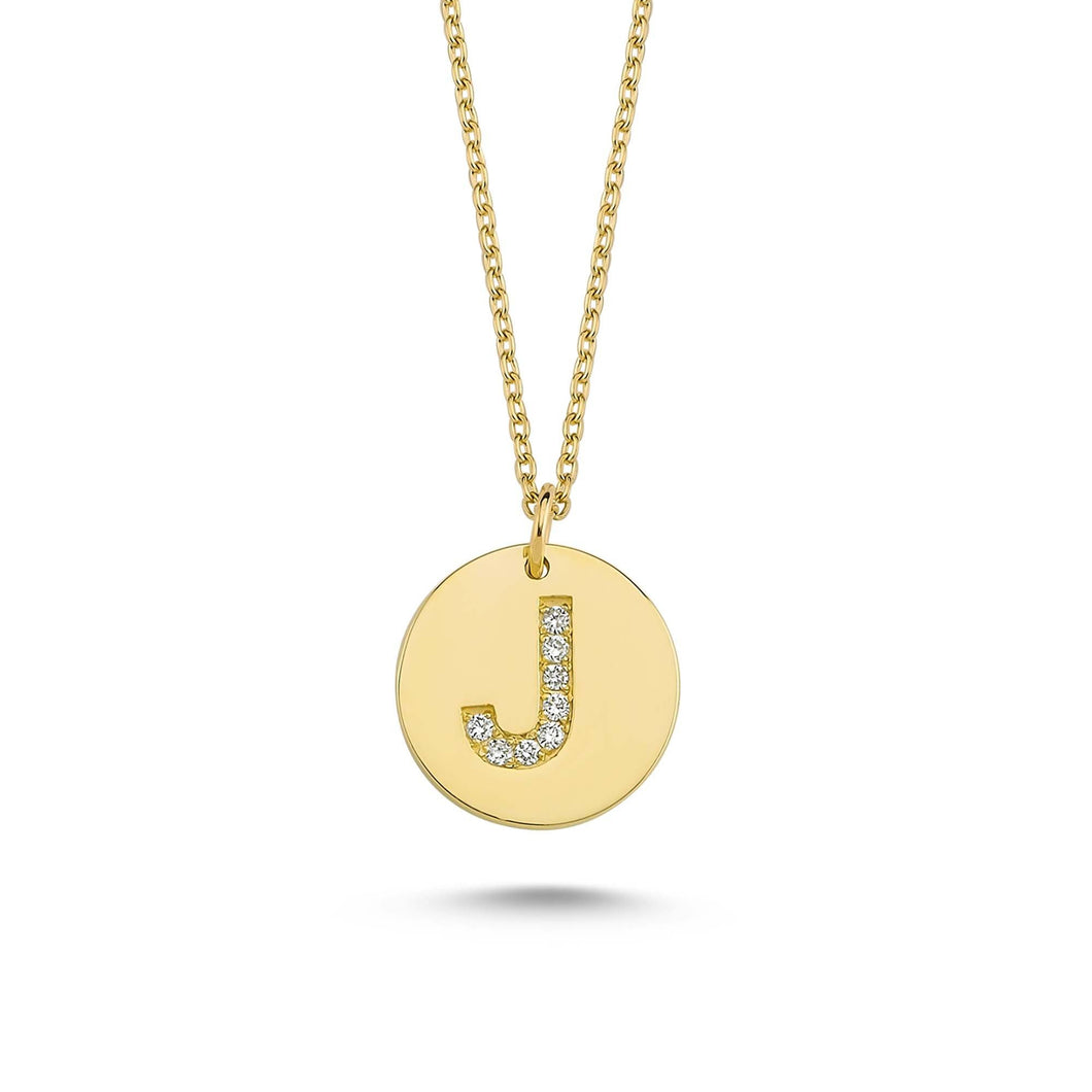 14K Solid Gold Diamond Initial J Charm Necklace For Women - Jewelryist