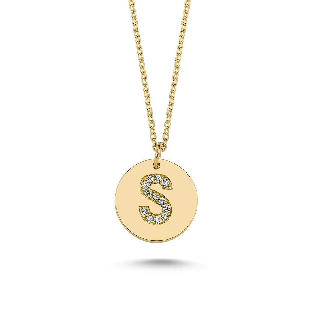 14K Solid Gold Diamond Initial S Charm Necklace for Women - Jewelryist