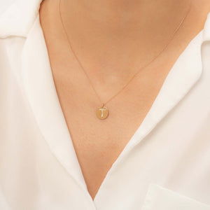14K Solid Gold Diamond Initial T Charm Necklace For Women - Jewelryist