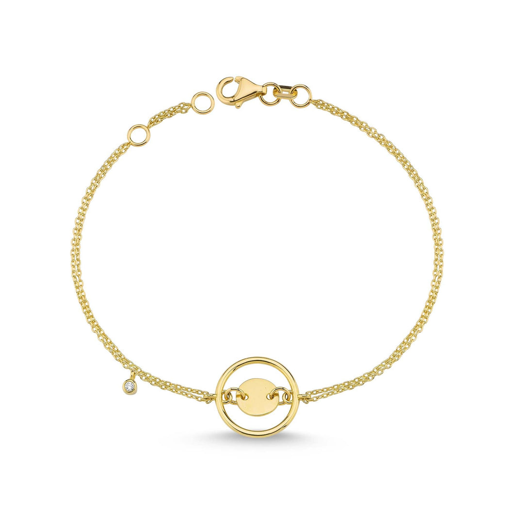 14K Solid Gold Diamond Circle Bracelet for Women - Jewelryist