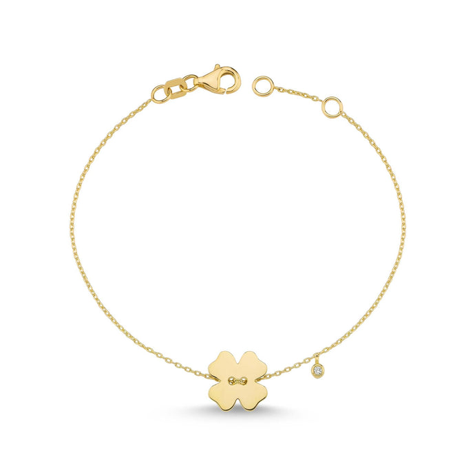 14K Solid Gold Diamond Flower Charm Bracelet for Women - Jewelryist