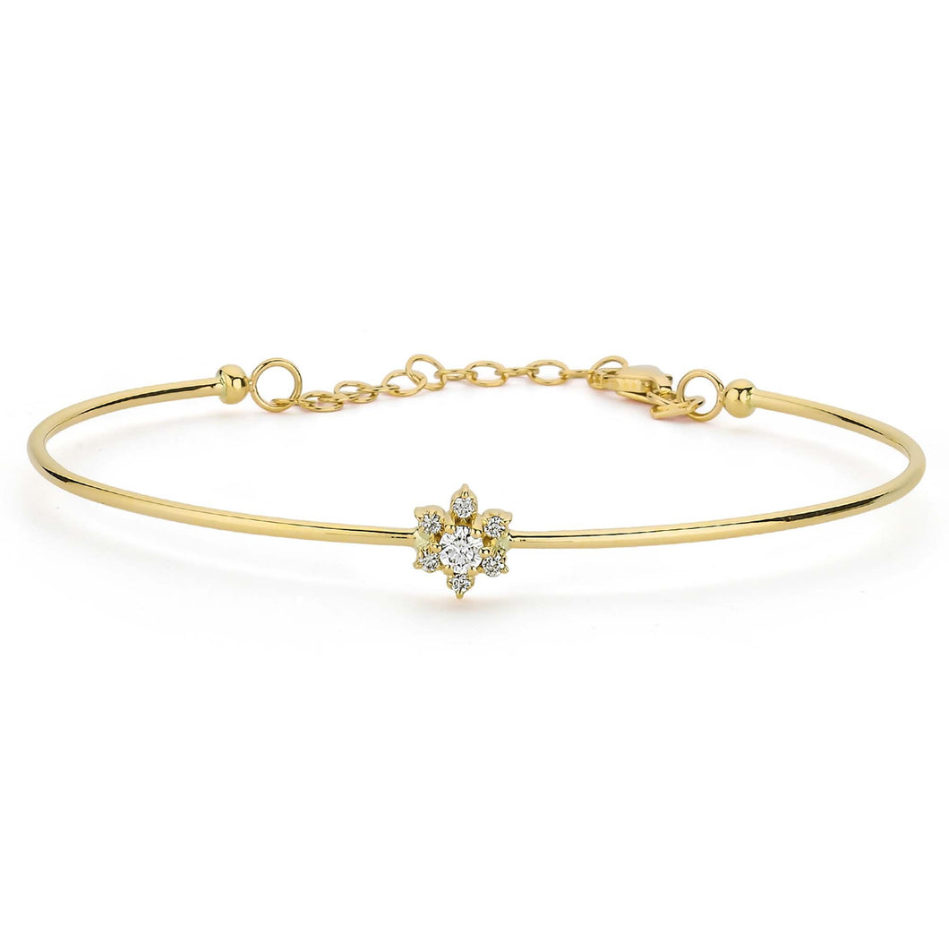 14K Solid Gold Diamond Bangle Bracelet for Women - Jewelryist