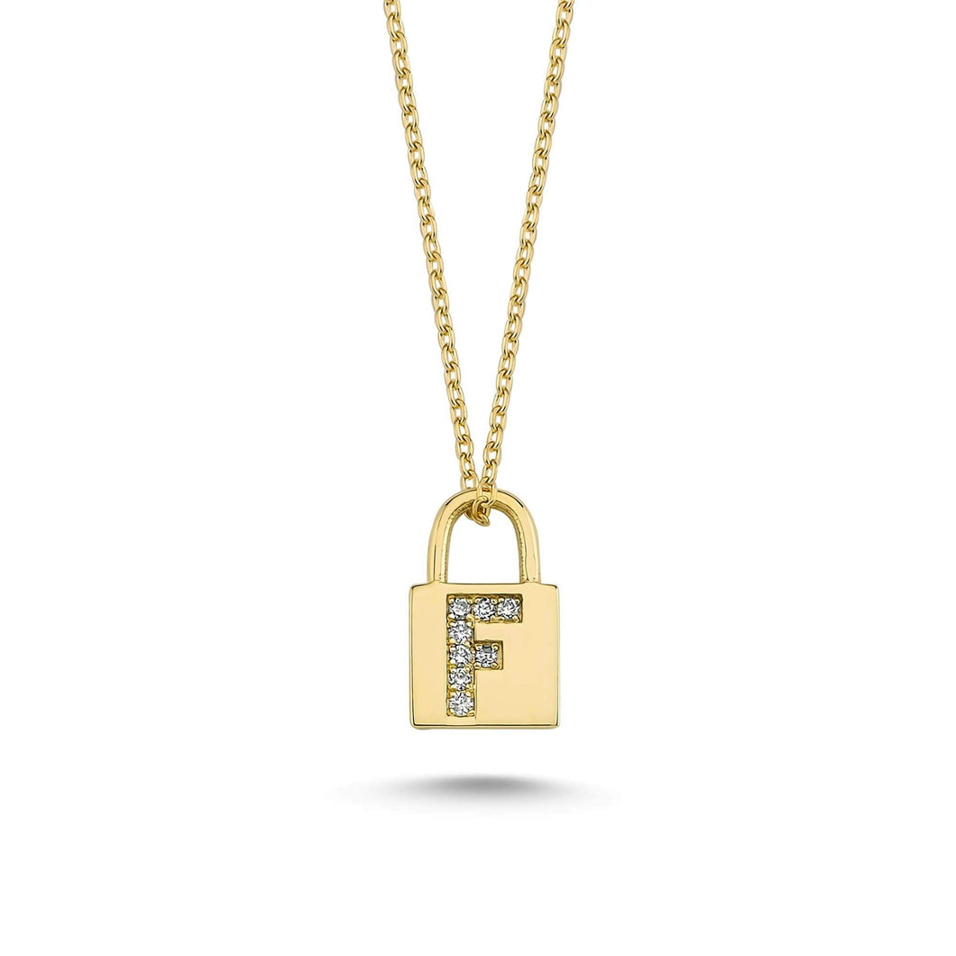 14K Solid Gold Diamond Initial F Charm Necklace For Women - Jewelryist