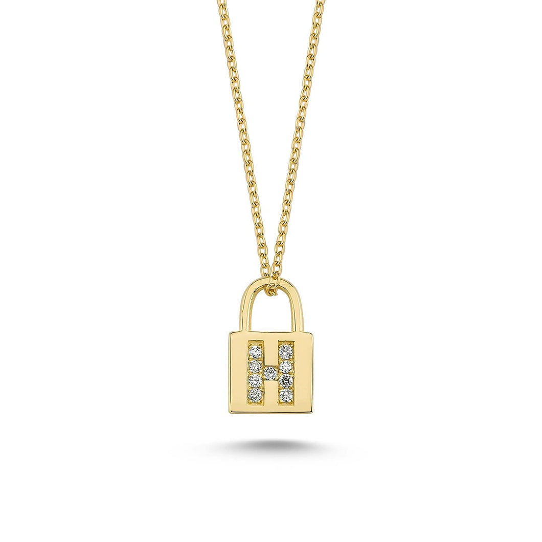 14K Solid Gold Diamond Initial H Charm Necklace For Women - Jewelryist