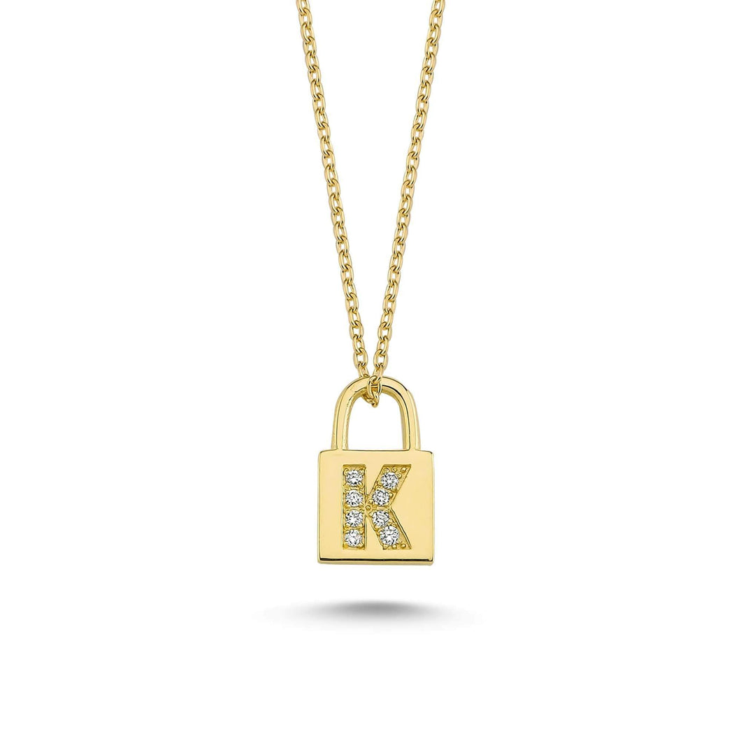 14K Solid Gold Diamond Initial K Charm Necklace For Women - Jewelryist