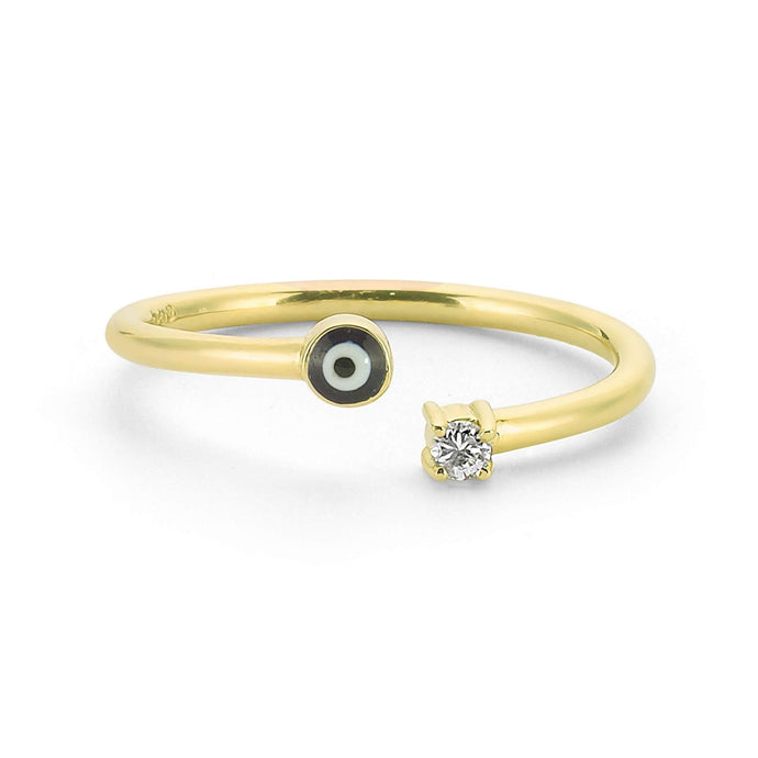 14K Solid Gold Diamond Evil Eye Ring For Women - Jewelryist