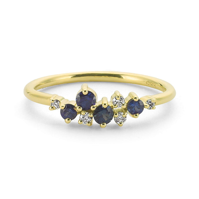 14K Solid Gold Diamond Sapphire Ring For Women - Jewelryist