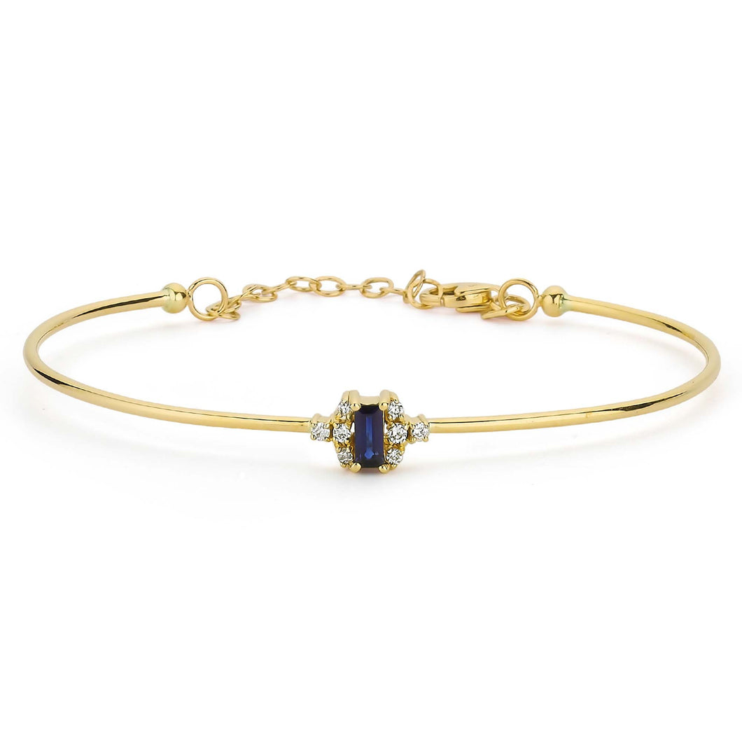 14K Solid Gold Diamond and Sapphire Bangle Bracelet for Women - Jewelryist