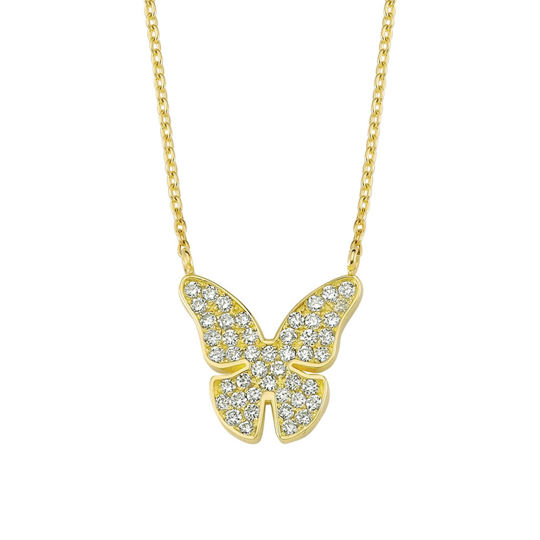 14K Solid Gold Diamond Butterfly Necklace For Women - Jewelryist