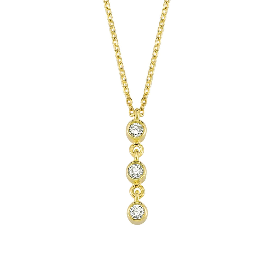 14K Solid Gold Diamond Trio Charm Necklace For Women - Jewelryist