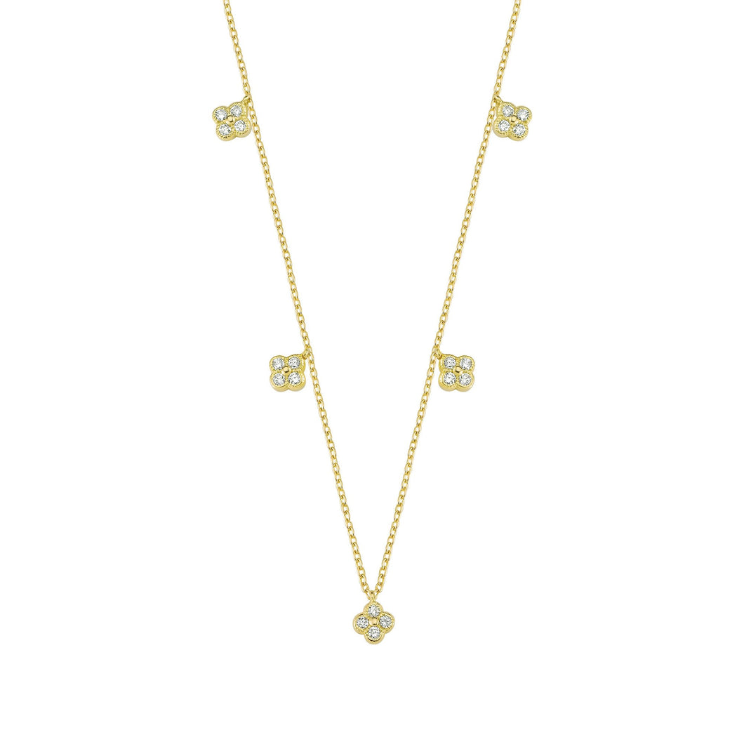 14K Solid Gold Diamond Layering Flower Necklace For Women - Jewelryist