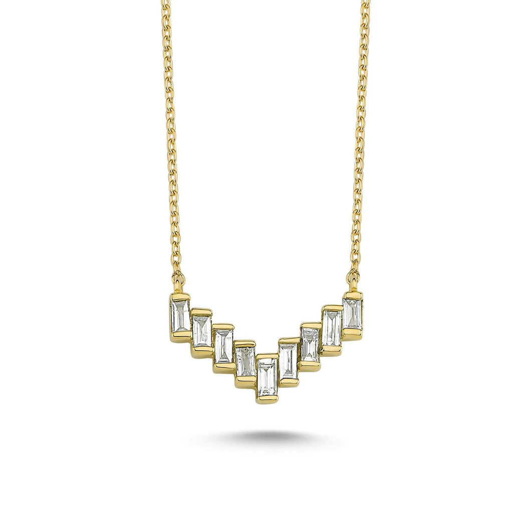 14K Solid Gold Diamond Layering Ladder Necklace For Women - Jewelryist