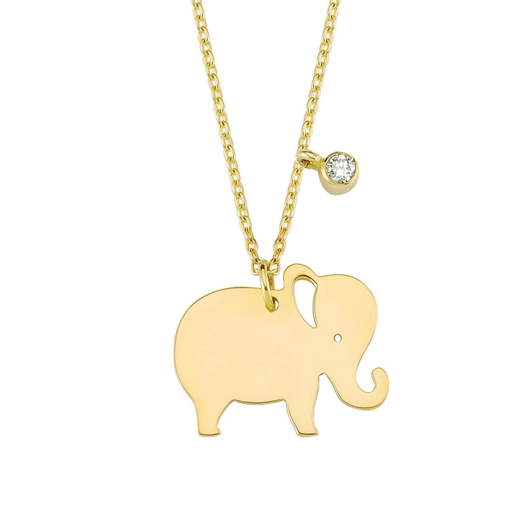 14K Solid Gold Diamond Elephant Charm Necklace For Women - Jewelryist
