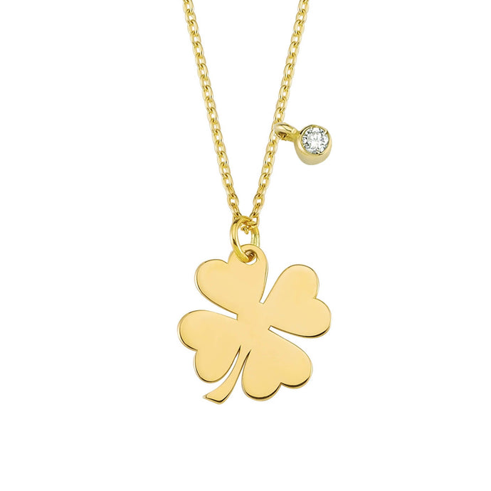 14K Solid Gold Diamond Clover Charm Necklace For Women - Jewelryist