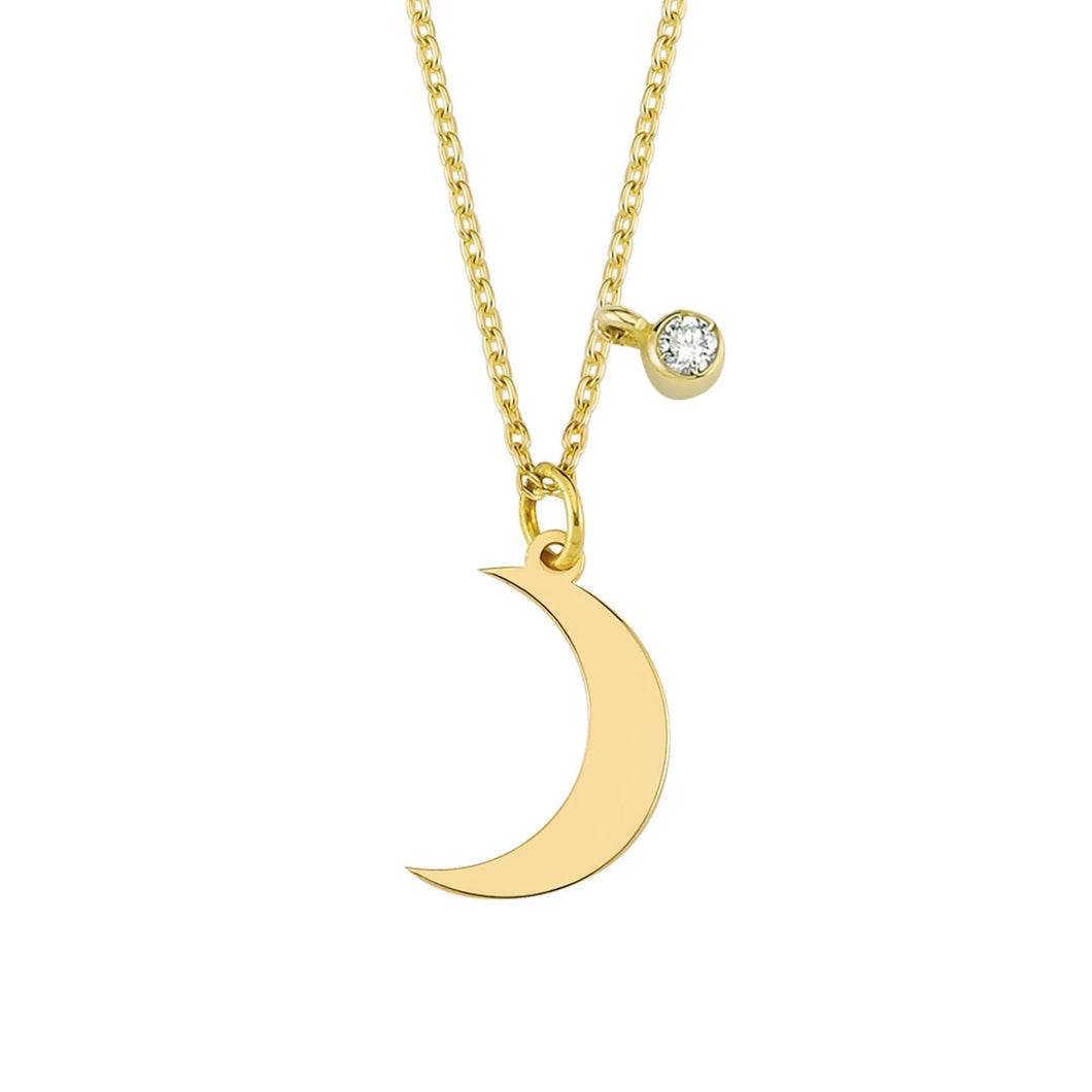 14K Solid Gold Diamond Crescent Moon Necklace For Women - Jewelryist