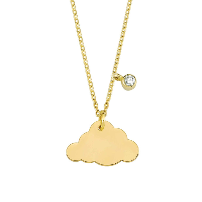 14K Solid Gold Diamond Cloud Charm Necklace for Women - Jewelryist