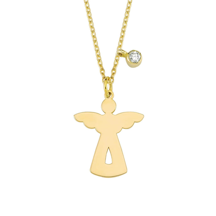 14K Solid Gold Diamond Angel Charm Necklace for Women - Jewelryist