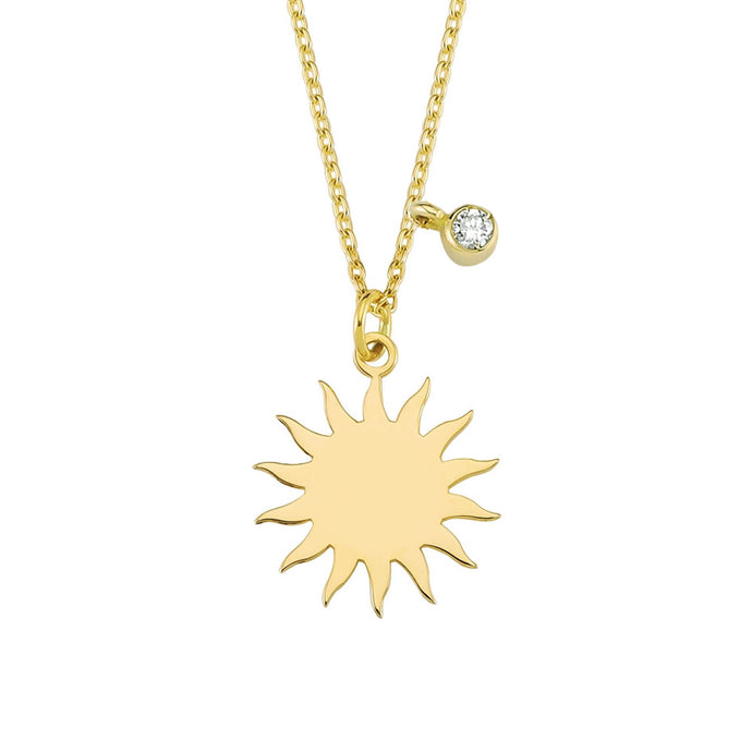 14K Solid Gold Diamond Sun Charm Necklace For Women - Jewelryist
