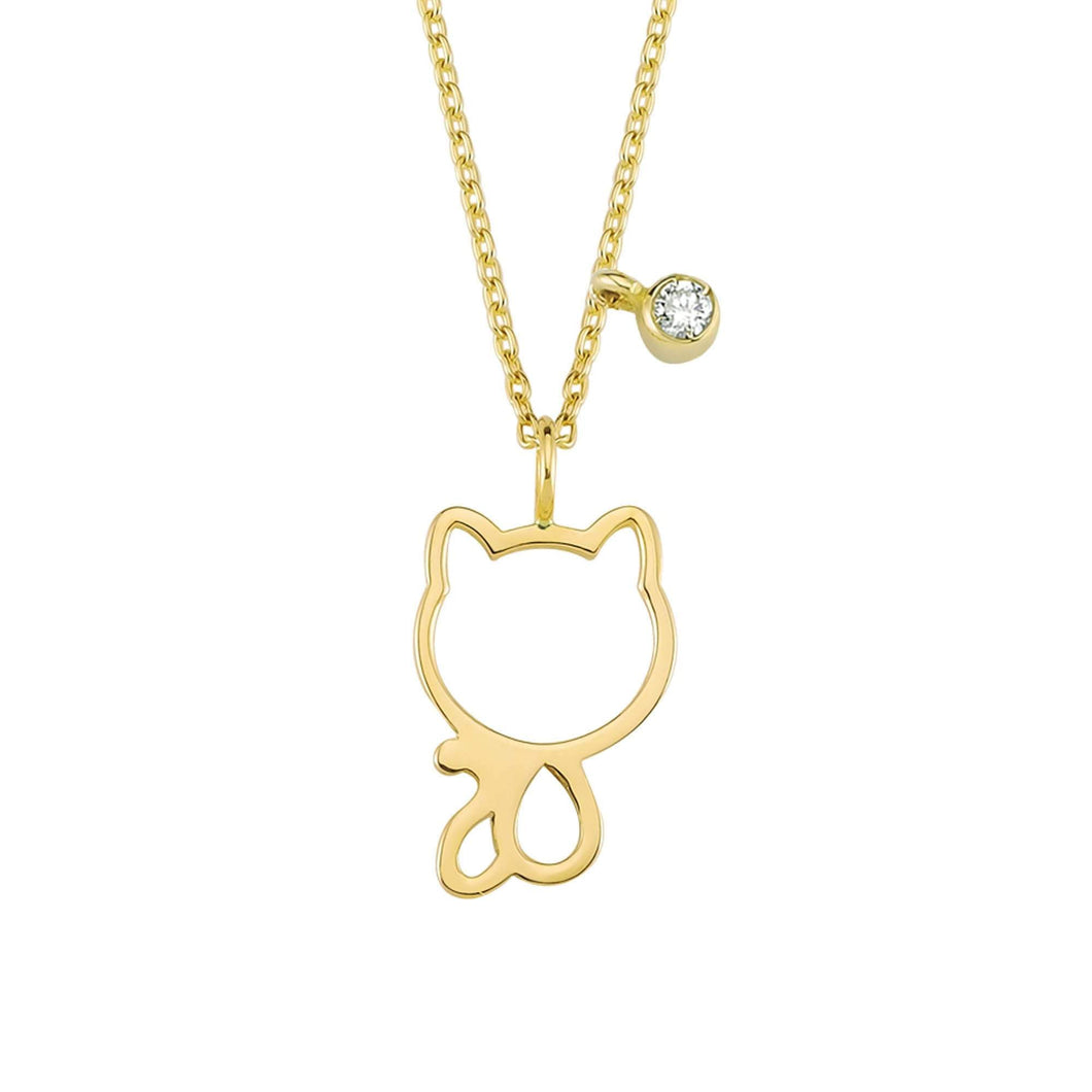 14K Solid Gold Diamond Cat Charm Necklace For Women - Jewelryist