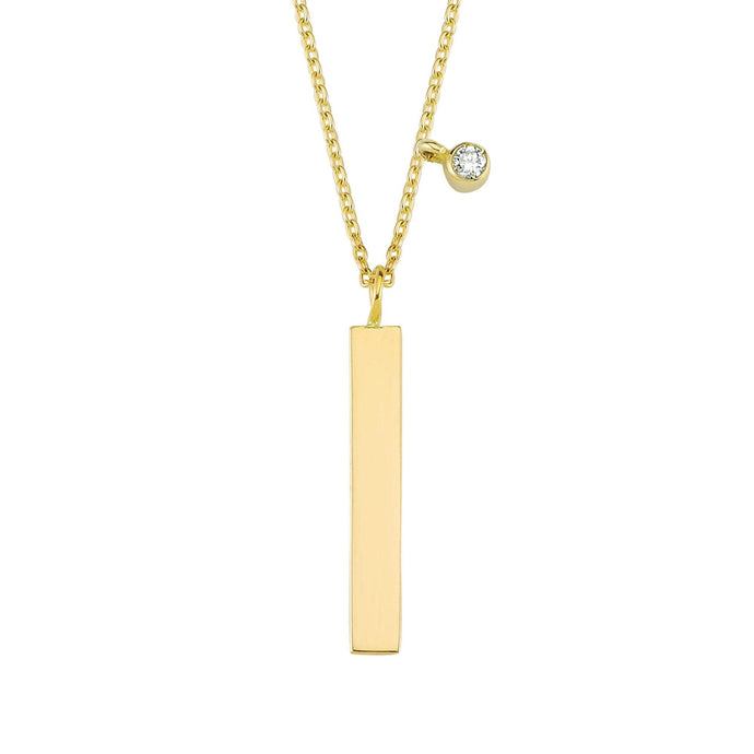 14K Solid Gold Diamond Bar Charm Necklace for Women - Jewelryist