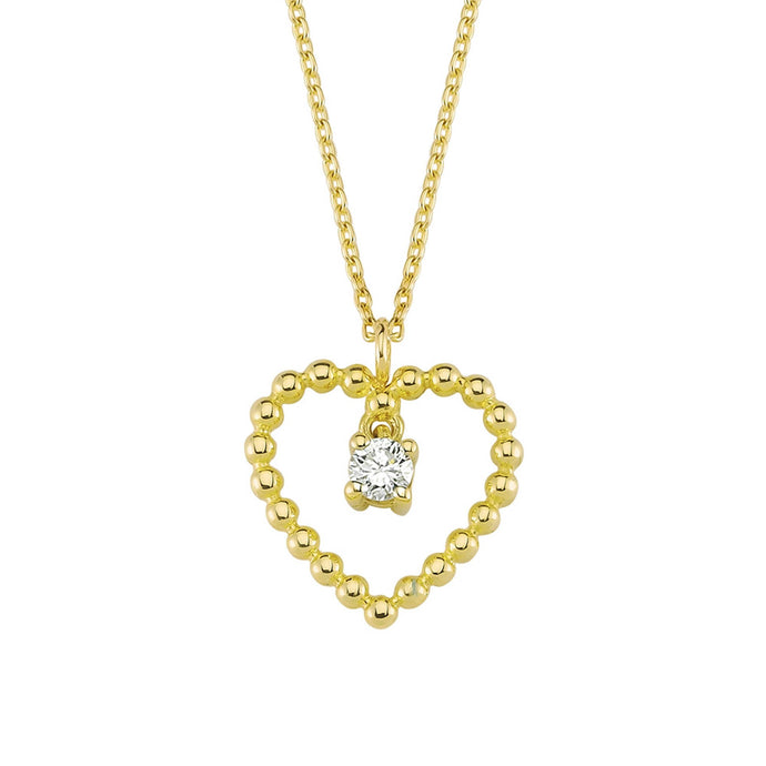 14K Solid Gold Diamond Heart Charm Necklace For Women - Jewelryist
