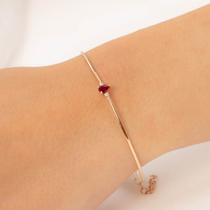 14K Solid Gold Diamond and Ruby Bangle Bracelet for Women - Jewelryist