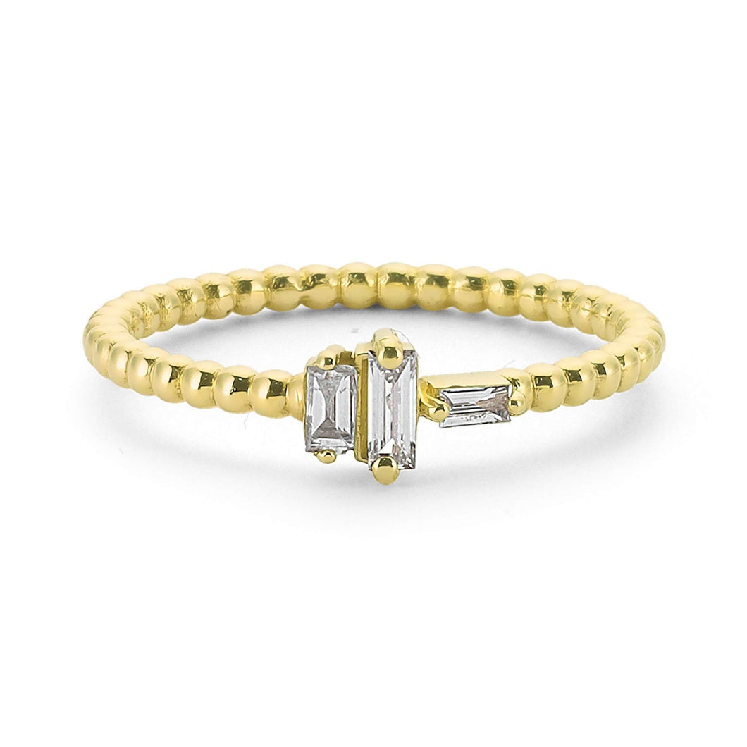 14K Solid Gold Diamond Stacking Ring For Women - Jewelryist