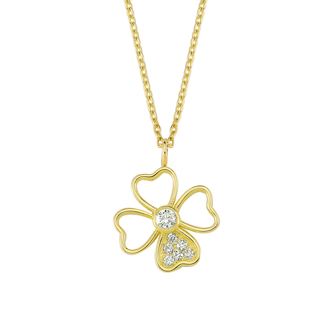 14K Solid Gold Diamond Flower Charm Necklace for Women - Jewelryist
