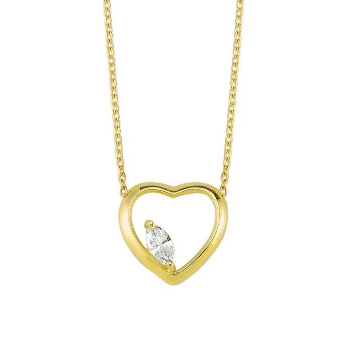 14K Solid Gold Diamond Layering Heart Necklace for Women - Jewelryist
