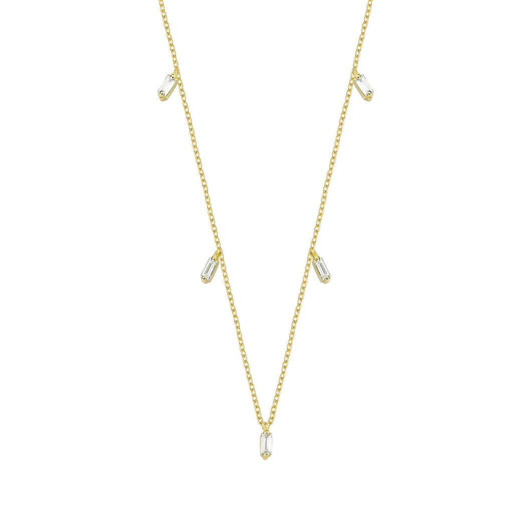 14K Solid Gold Diamond Layering Baguette Necklace For Women - Jewelryist