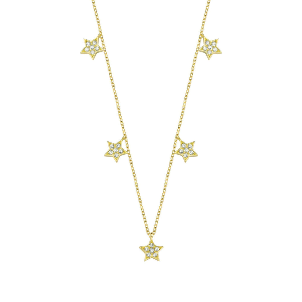 14K Solid Gold Diamond Layering Star Charm Necklace For Women - Jewelryist