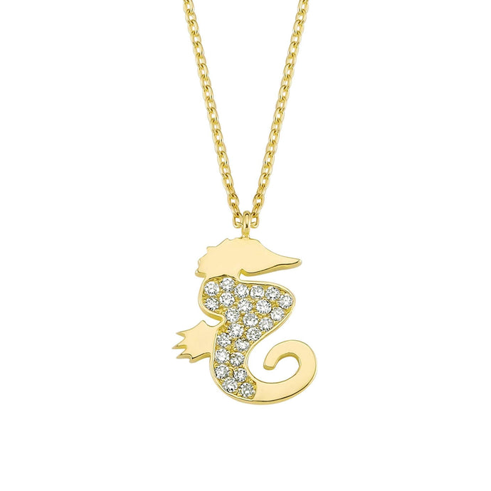 14K Solid Gold Diamond Sea Horse Charm Necklace For Women - Jewelryist