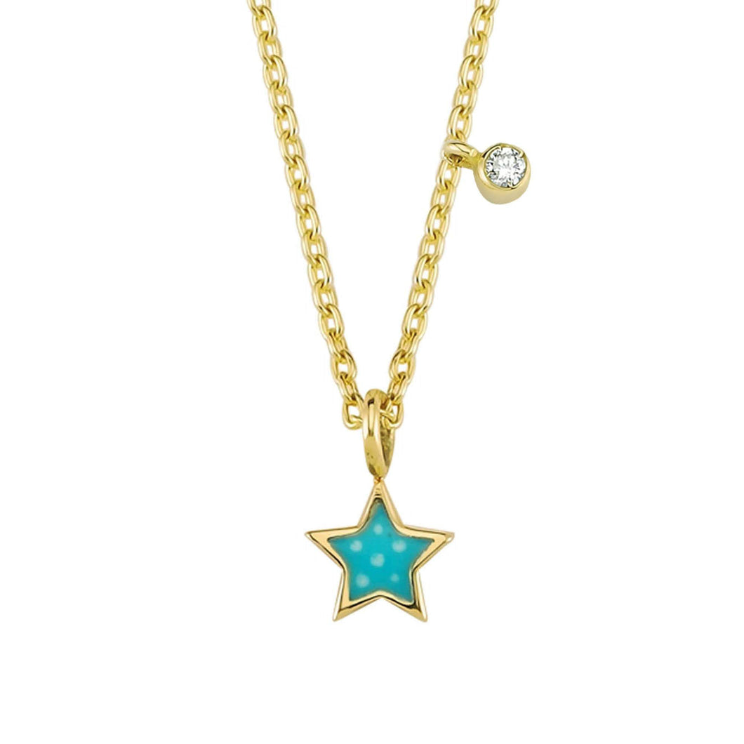 14K Solid Gold Diamond Enamel Star Necklace For Women - Jewelryist