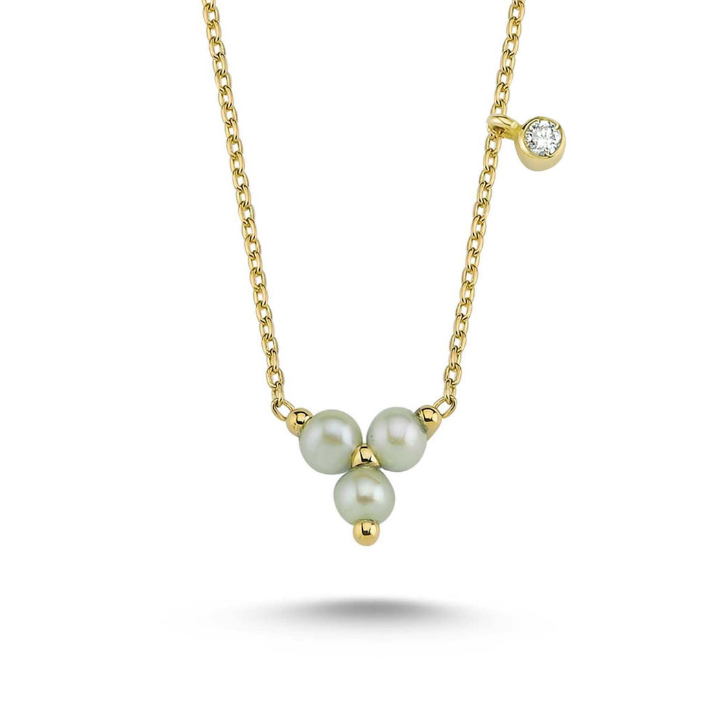 14K Solid Gold Diamond Layering Pearl Necklace For Women - Jewelryist