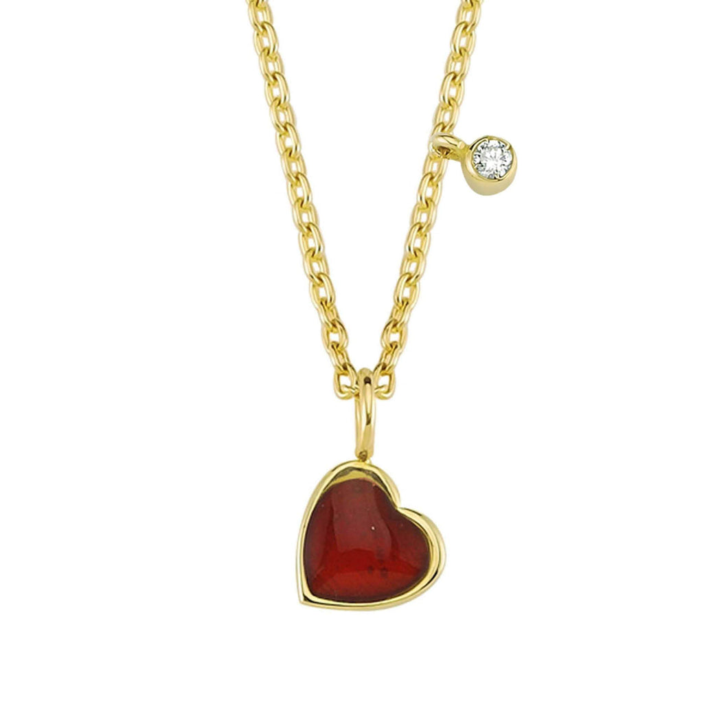 14K Solid Gold Diamond Enamel Heart Necklace For Women - Jewelryist