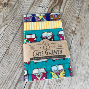 Campervan design beeswax fabric wraps set of three