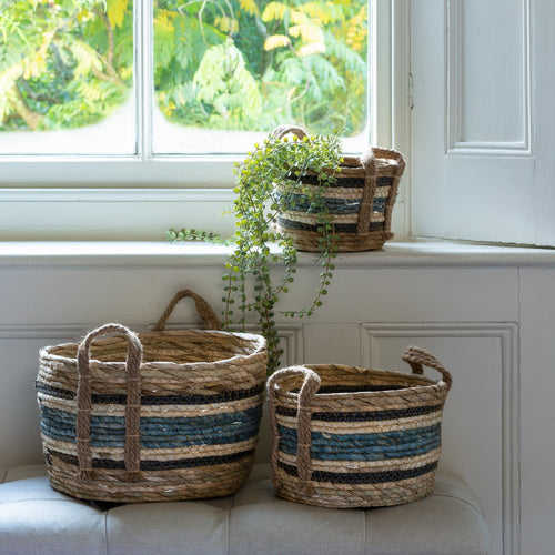 Set of Three Blue Striped Straw And Corn Baskets