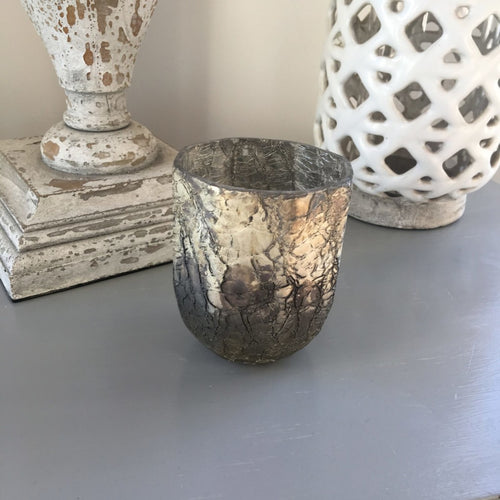 Hand carved glass votive with crackle-glaze finish