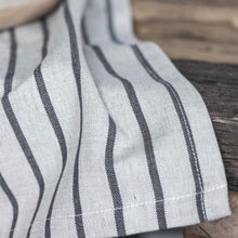 Load image into Gallery viewer, Natural beige tea towel with charcoal stripes